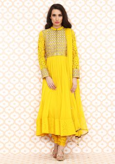 Yellow gold embrodered kurta set by Anita Dongre. Shop now at www.perniaspopupshop.com.