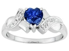 .75ct Heart Shape Blue Mahaleo(R) Sapphire And .02ctw Round White Zircon Sterling Silver Ring
