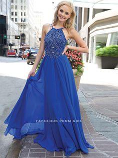 A-line Beading  Chiffon Prom Dresses / Evening Dresses