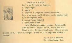 Roots From The Bayou: Family Recipe Friday ~ Banana Bread