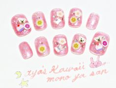 SALE kawaii nails fake nails pink glitter polymer clay by Aya1gou, $9.80