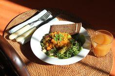 Mulligatawny soup on salad