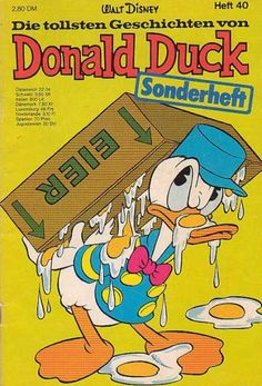 Donald Duck - Eggs On Face - Carrying A Box - Walt Disney - Blue Hat