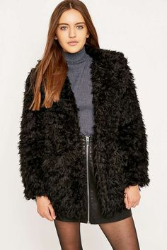 Urban Outfitters Black Faux Fur Coat