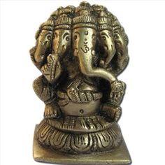 Five Head Lord Ganesha Sculpture Handmade Brass Hindu God Statues from India 7.62 x 4.45 x 5.08 cms: Amazon.co.uk: Kitchen & Home