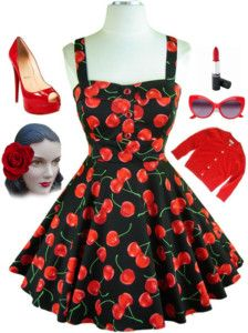 Cherries cherries everywhere! I have a similar dress from Pretty girl! They had it for 8 bucks last year! Pin Up Outfits, Cute Outfits, Cherry Baby, Cherry Red, Make A Girl Laugh, Pin Up Style, My Style, Vintage Fashion, Rainbows