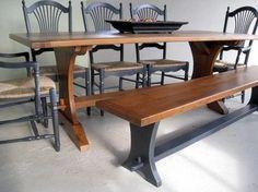 Harvest Style Trestle Dining Table farmhouse-dining-tables