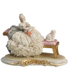 Dresden Porcelain Figurine Lady Sitting On Fainting Couch With Her Cat Porcelain Jewelry, Fine Porcelain, Porcelain Ceramics, Porcelain Doll, Dresden Dolls, Dresden China, Dresden Porcelain, Half Dolls, Ceramic Animals