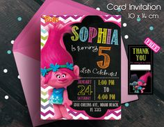 Trolls invitation, trolls movie invitation, invitation, invitacion de trolls, cumpleaños de trolls, trolls movie, trolls birthday party