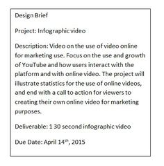 Design Brief - Info =graphic