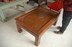 Hand carved elm coffee table with glass inlay from Beijing, China
