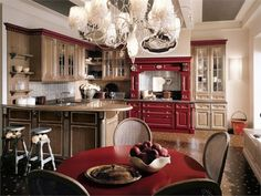 Classic Kitchen Designs Martini Mobili In Brown And Red