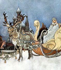 The Russian Princess, Charles Robinson, Antique / Vintage Art Print, Reindeer, Sledge, Sleigh