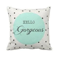 Pillow Polka Dot Mint Green Hello Gorgeous Cotton by JolieMarche, $35.00