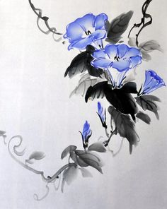 Chinese Drawings, Chinese Art, Chinese Brush, Korean Art, Asian Art, Watercolor Painting Techniques, Watercolor Paintings, Chinese Painting Flowers, Art Chinois