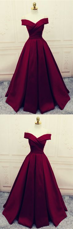 Elegant Burgundy Satin V-neck Off Shoulder Prom Dresses Long Evening Gowns 2018
