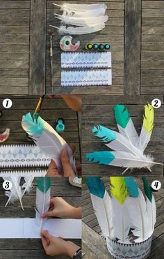 DIY Carnaval - Ruban Collectif Couronne d'Indien / Indian Crown - I like te painted tips but would prefer a fabric band. Indian Birthday Parties, Indian Party, First Birthday Parties, First Birthdays, Indian Diy, Birthday Brunch, Indian Crafts, Diy Birthday, Indian Style