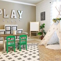 My kids playroom is my favorite room to decorate! So I put more shiplap wallpape. My kids playroom is my favorite room to decorate! So I put more shiplap wallpaper on the back wall and it made the room look so much bigger! Loft Playroom, Toddler Playroom, Playroom Organization, Playroom Design, Playroom Decor, Nursery Decor, Playroom Layout, Living Room Playroom, Boys Playroom Ideas