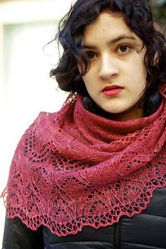 """Irene Adler by Kristen Kapur Willy Wonka Thalia yarn in color """"Bohemia"""". It's not red or pink. A beautiful, deep rose."""