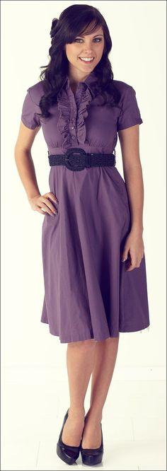 @roressclothes clothing ideas #women fashion purple dress, black belt