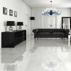 Home Room Design, Living Room Designs, Marble Floor Kitchen, Tile Bedroom, Classy Living Room, Home Entrance Decor, Living Room Flooring, Floor Design, White Marble