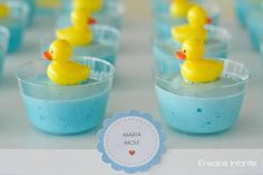 Blue pudding with a little rubber duck on top - Have Strawberry jello or pudding for a girl