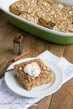 Refined Sugar Free Baked Oatmeal sweetened with fruit and coconut sugar only/ sugarfreemom.com