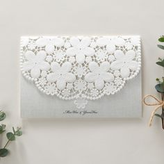White Lace wedding invitations Embossed laser cut floral - BH 6001 | ItsInvitation