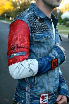 Studded Denim Jacket with leather sleeves by BoneBlack on Etsy