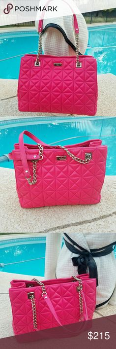 Kate spade Quilted bag Ohhh my God! This is so beautiful kate spade Quilted bag with chain strap. It's barely used and in pretty excellent condition. kate spade Bags Shoulder Bags