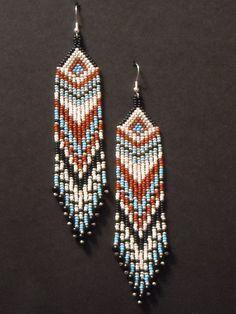 Native American Beaded Earrings-Arrowhead Top, Long Dangle Earrings, Silver Turquoise Earrings