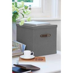 32x32x32 cm Bigso Charcoal Black, Gray Canvas Box With Leather Handle |