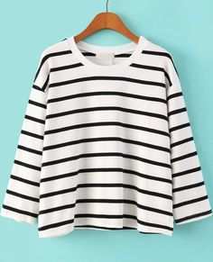 White Long Sleeve Striped Loose T-Shirt 15.17