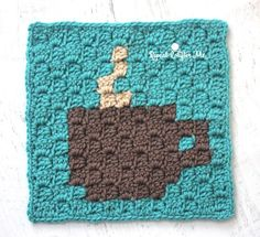 Starbucks Spring Beverages and Crochet C2C Coffee Cup Granny Square - Repeat Crafter Me