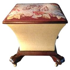 King Charles Spaniel Petit Point Ottoman Box, Mahogany Base, Brass Casters. Charming small ottoman with petit point top depicting a King Charles Spaniel surrounded by floral decoration, with a pleasingly shaped body, carved feet with brass casters. The top opens for storage. Pale green linen on the body of the ottoman and also upholstering the inside of the box. Use as a stool in front of a dressing table, ottoman for chair, a side table, or an extra fireside seat.