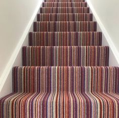 This striped carpet is our deco range and works perfectly on stairs! Visit our website for more! Stairs Landing Carpet, Striped Carpet Stairs, Striped Carpets, Carpet Staircase, Hallway Carpet, Interior Design Living Room Warm, Dining Room Design, Living Room Modern, Living Room Colors