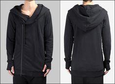 2016 Men's Black Hoodie // Asymmetric Zip Closure // Gloves Sleeve // Big Hood / Oversized Skinny Sweatshirt