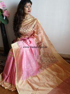 Banarasee/Banarasee Handwoven Half & Half Tissue Saree-Pink & Gold