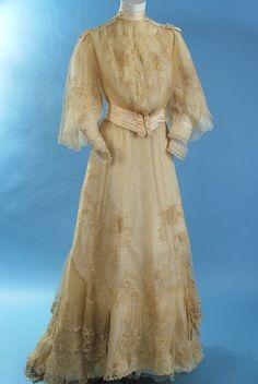 Antique circa 1890 Embroidered net wedding gown http://carolynforbestextiles.com/antique-circa-1890-Embroidered-net-wedding-gown-ac501.html