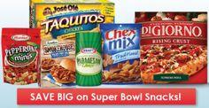 Heading out to stock up for your Super Bowl party? Don't pay full price on your snacks and supplies, use coupons and bring your party home for less! Save on DiGiorno pizza, Farm Rich Mozzarella Sticks, El Monterey Taquitos and much more!