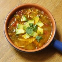 Chicken Tortilla-less Soup. (could make a big batch and eat for lunch during the week.)