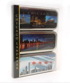"""Chocolate Souvenirs Online New to our wildly successful Landmark Collection, we've added three Chicago Landmark Tins that feature the beautiful and famous skyline of the """"Windy City,"""" loaded with our White, Milk and Dark Chocolate Drops.  This three-tin gift set contains one of each tin.   (14 oz) http://bridgebrandschocolate.com"""