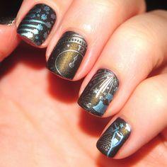 Silver/copper nail art