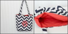 Monogrammed Chevron Tote Bag  Bridesmaid Gift   by Prettyloulou, $24.95