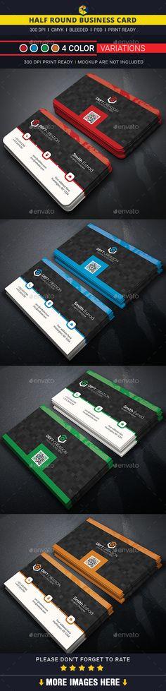 Half Round Business Card Template #design Download: http://graphicriver.net/item/half-round-business-card/12628588?ref=ksioks