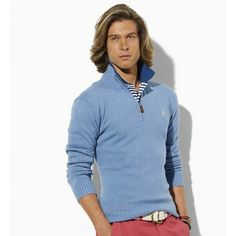 Men Polo Ralph Lauren Cotton Half-Zip Sweater in Light Blue