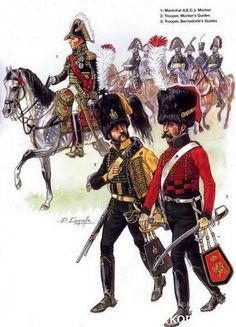 1-Maréchal Adolphe Édouard Casimir Joseph Mortier.  2-Guides de Mortier.  3-Guides de Bernadotte.