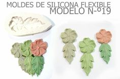 Molde de silicona flexible numero 19 flor con una hojita