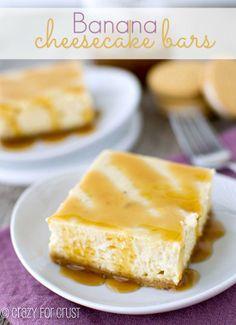 Banana Cheesecake Bars   The banana cheesecake pairs perfectly with the Golden Oreo Crust!   via @Crazy for Crust/ #cheesecake #banana #recipe