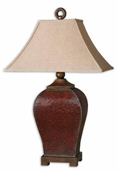 Buy the Uttermost 27662 Deep Red Direct. Shop for the Uttermost 27662 Deep Red Single Light Crackled Rectangular Table Lamp from the Patala Collection and save. Red Table Lamp, Light Table, Lamp Light, Light Fixture, Room Lamp, Desk Lamp, Traditional Table Lamps, Tuscan Decorating, Decorating Ideas